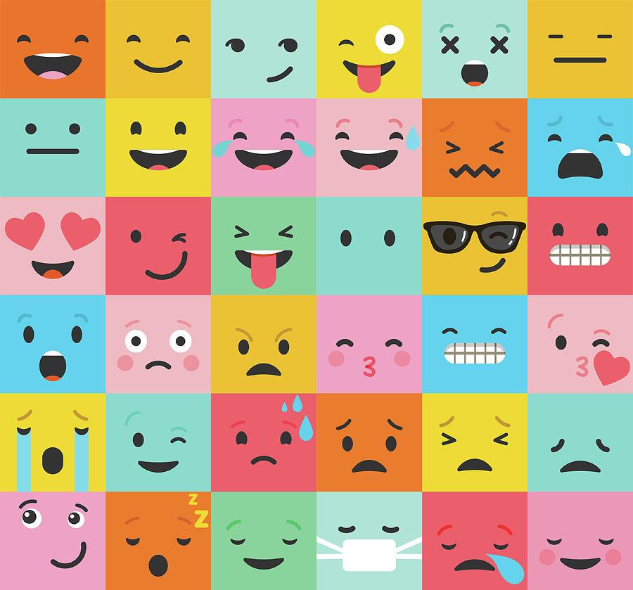 Set Of Colorful Emoticons, Emoji Flat Digital Art by Ma rish