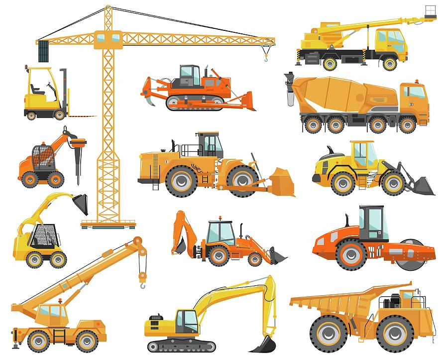 Set Of Detailed Heavy Construction And Digital Art by Alexyustus