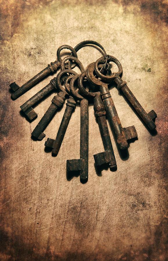 Old Photograph - Set Of Old Rusty Keys On The Metal Surface by Jaroslaw Blaminsky