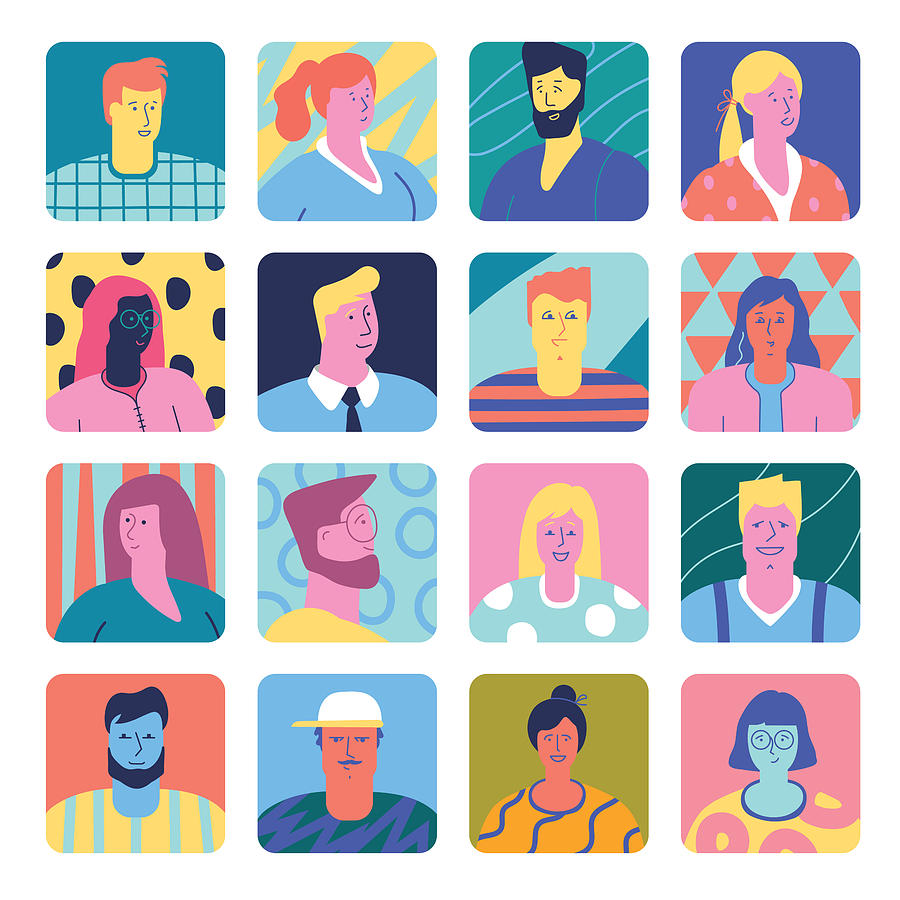 Set of people avatars Drawing by Miakievy