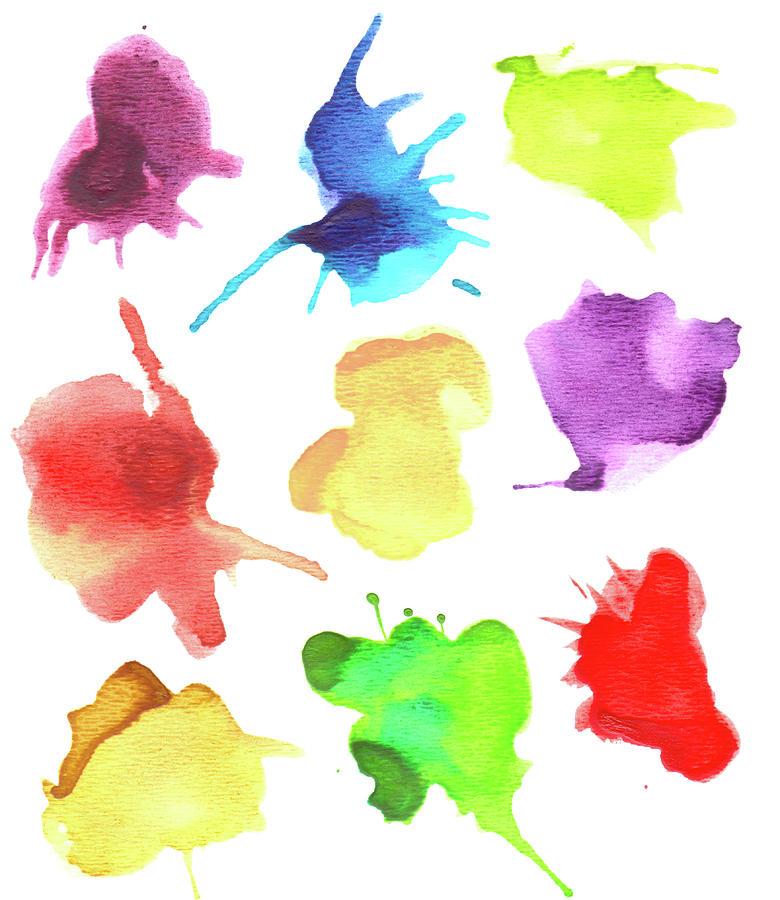 Set Of Watercolor Splashes Digital Art by Crisserbug
