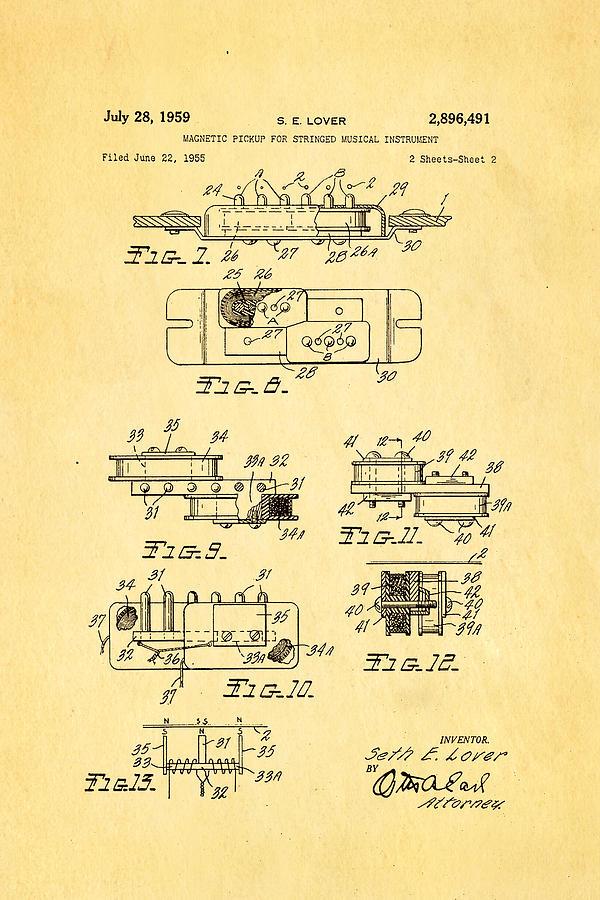 Famous Photograph - Seth Lover Gibson Humbucker Pickup 2 Patent Art 1959 by Ian Monk