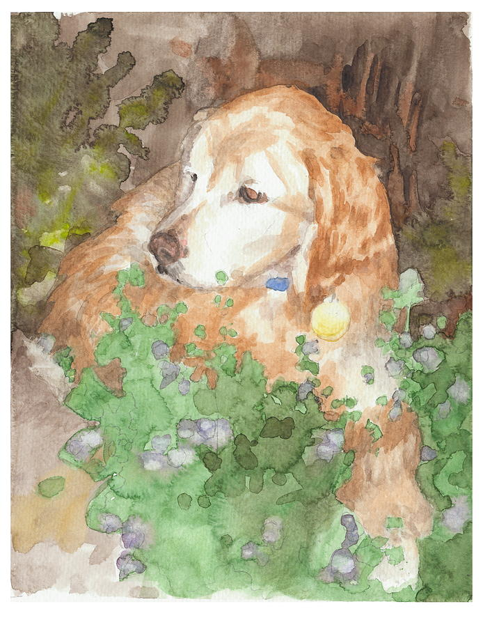 Setter Dog In Flowers Watercolor Portrait Drawing by Mike Theuer