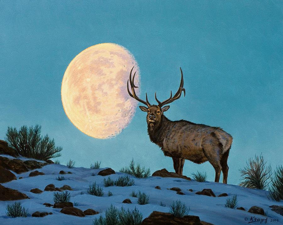 Wildlife Painting - Setting Moon And Elk by Paul Krapf