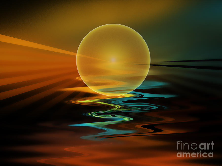 Abstract Digital Art - Setting Sun by Klara Acel