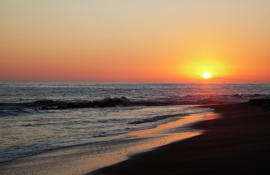 Scenic Photograph - Setting Sun On A Crystal Cove Beach by Driendl Group