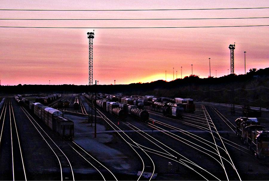 Setting Photograph - Setting Sun Shining Rails by Elizabeth Sullivan
