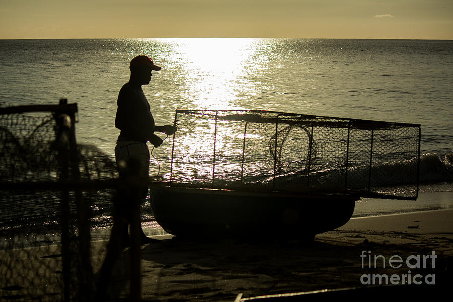 Fisherman Photograph - Setting Traps by Rene Triay Photography