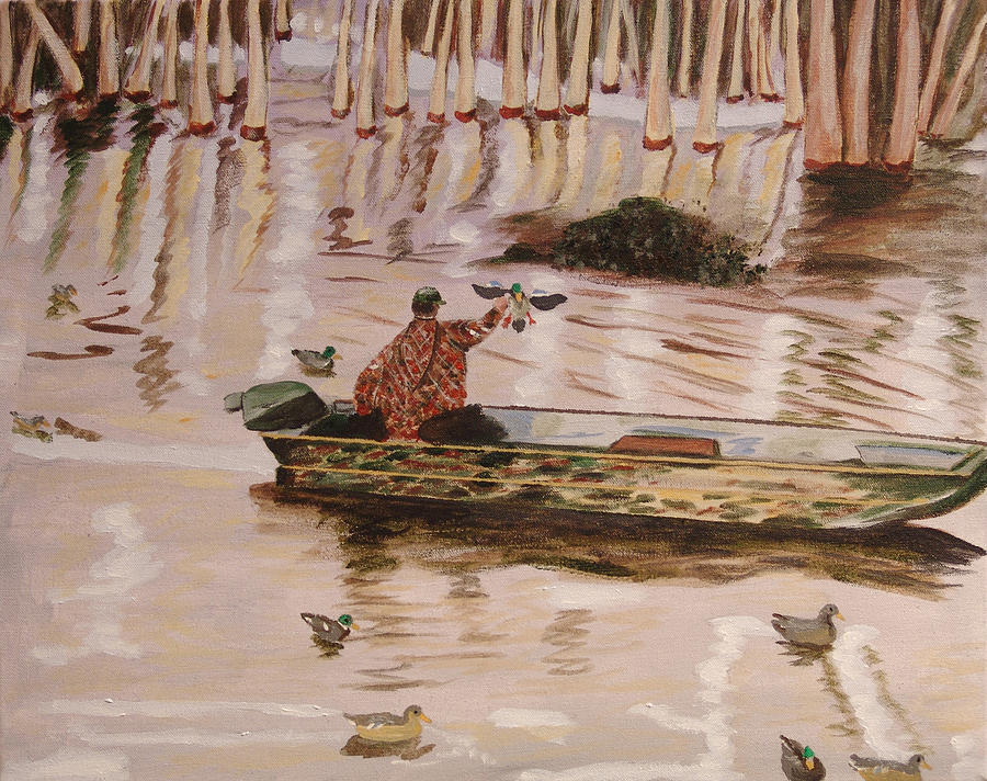 Duck Hunting Painting - Setting Up In A Tupelo Swamp by Kevin Callahan
