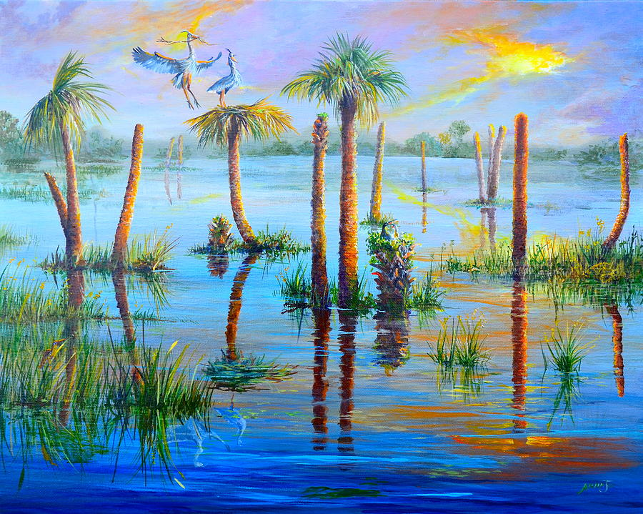 Great Blue Herons Painting - Settling In Viera by AnnaJo Vahle