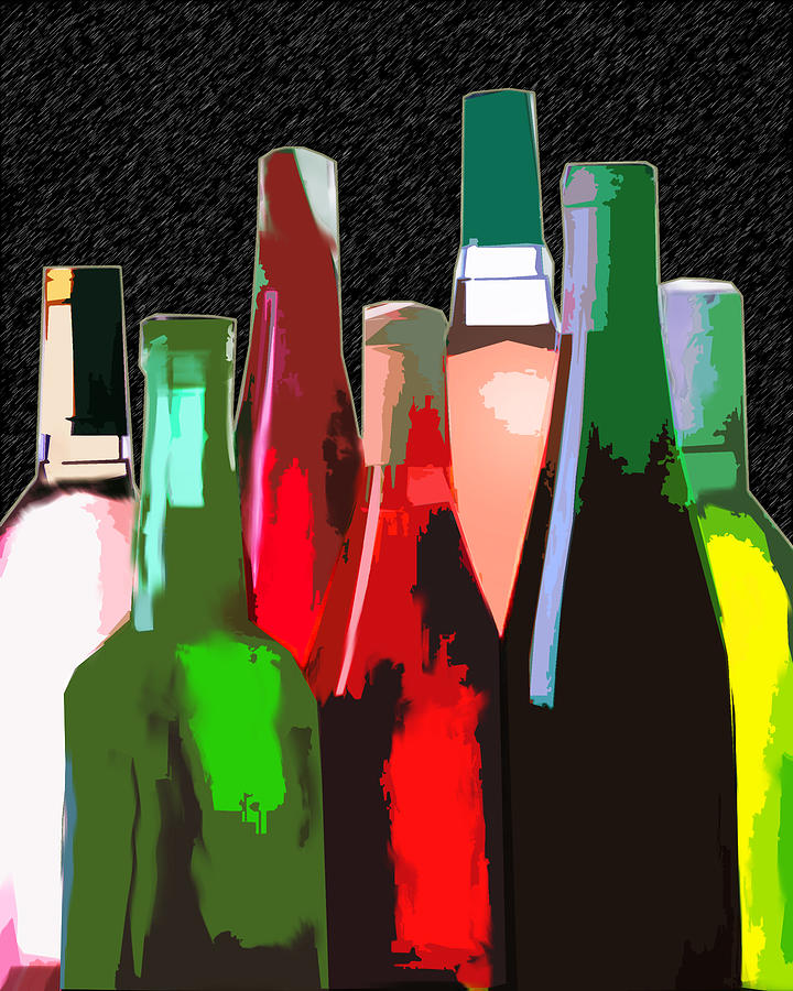 Wine Painting - Seven Bottles Of Wine On The Wall by Elaine Plesser