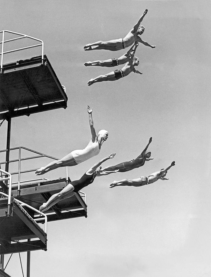 1937 Photograph - Seven Champion Diving In La by Underwood Archives