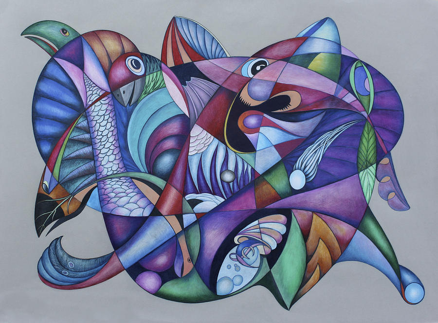 Ocean Drawing - Seven Creatures For Seven Seas by Lonnie C Tapia