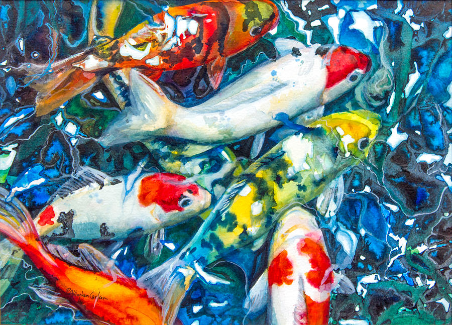 Seven Koi Fish Painting By Patricia Allingham Carlson