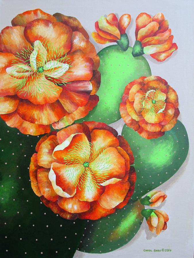 Cactus Painting - Seven Lucky Prickly Pear Flowers by Carol Sabo
