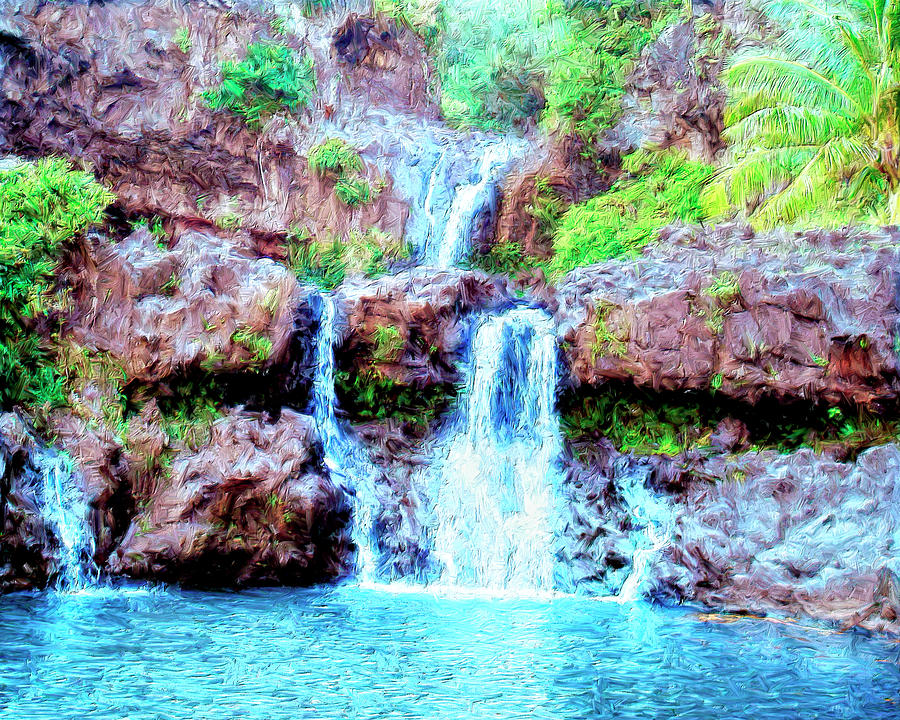 Seven Sacred Pools Maui Painting By Dominic Piperata