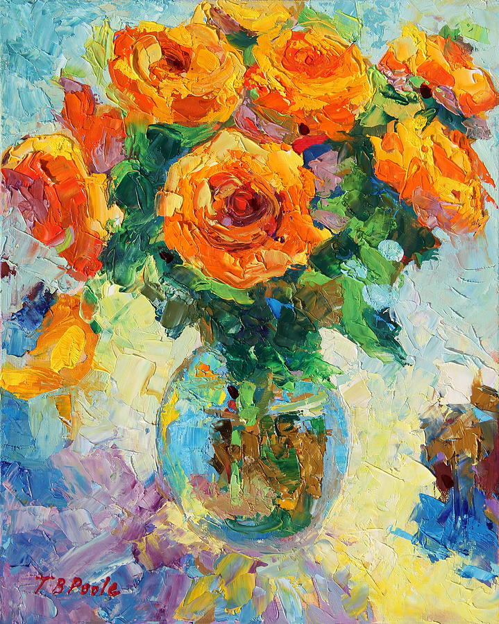 Seven Yellow Roses In A Glass Vase Orange Yellow Blue Palette Knife Oil Colors Oil On Panel Painting - Seven Yellow Roses In Glass Vase Oil Painting by Thomas Bertram POOLE