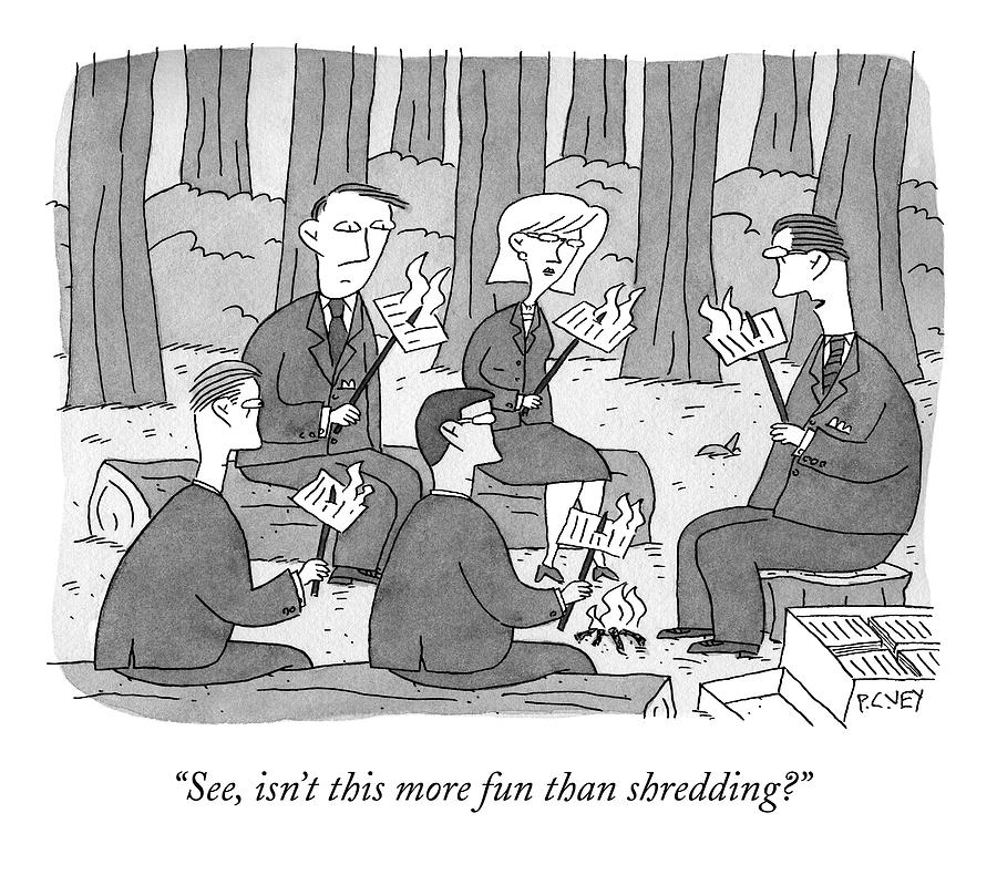 Several Business People Sit Around A Campfire Drawing By Peter C Vey