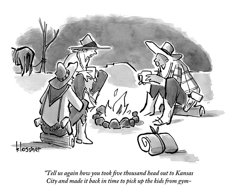 Several Cowboys Sit Around A Fire Drawing by John  Klossner