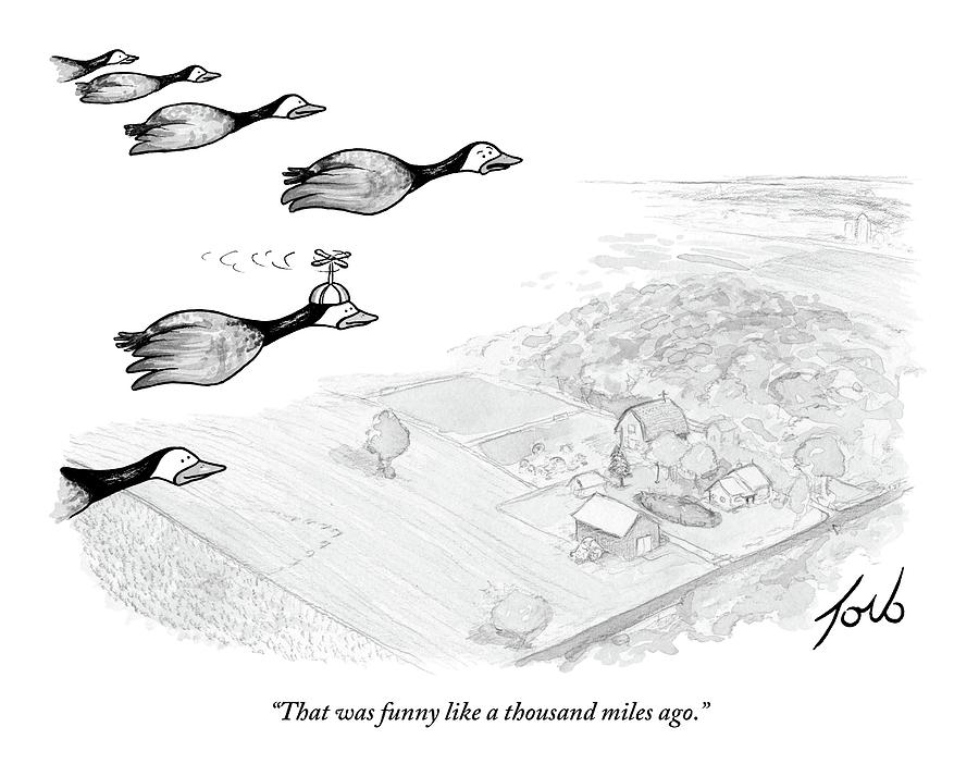 Several Geese Fly In A V-formation Drawing by Tom Toro