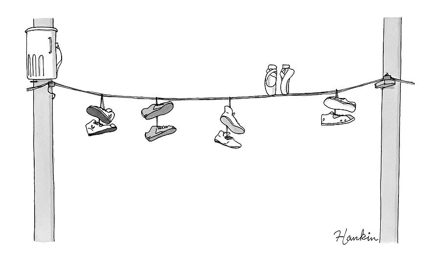 Several Pairs Of Shoes Dangle Over An Electrical Drawing by Charlie Hankin