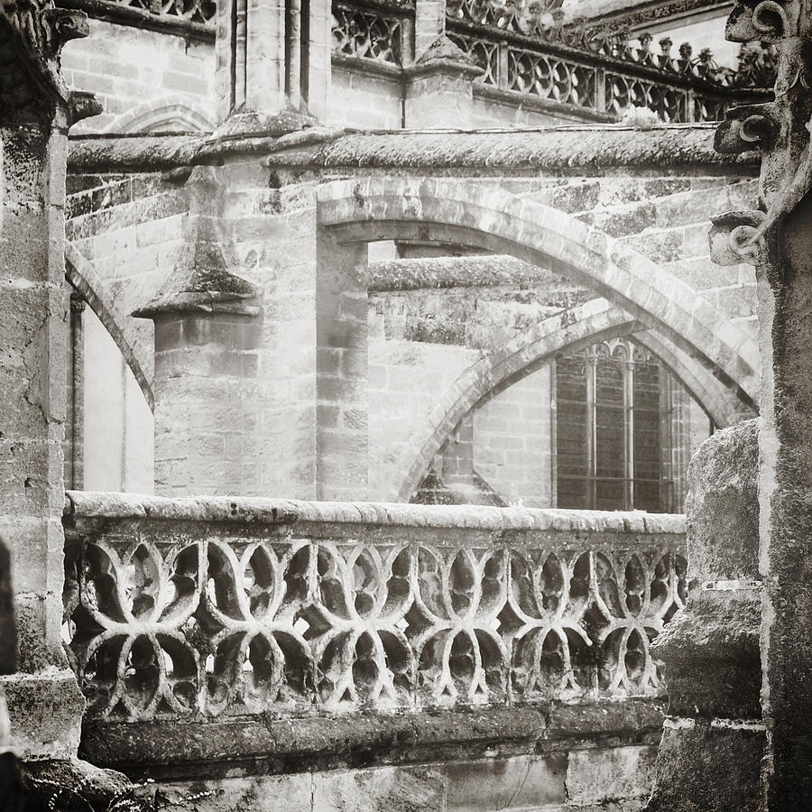 Arches Photograph - Seville Cathedral Buttresses Black And White by Angela Bonilla