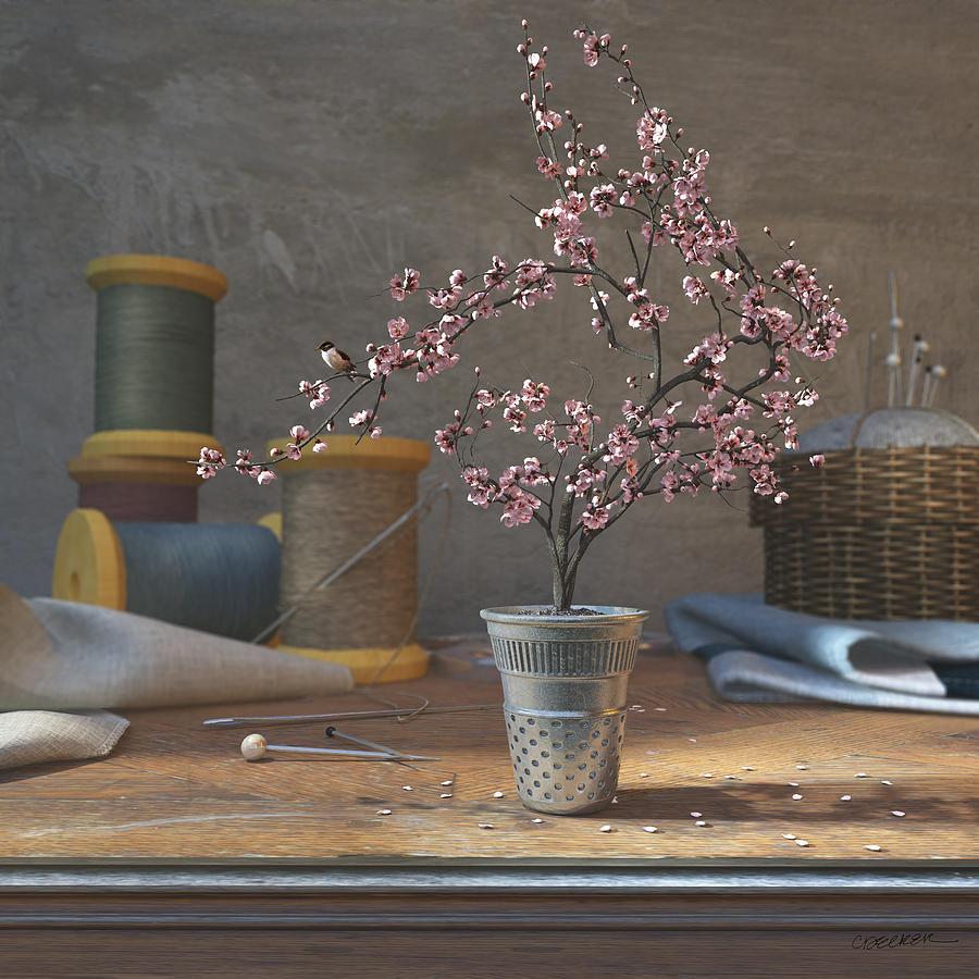 Cherry Blossom Digital Art - Sew Tiny by Cynthia Decker