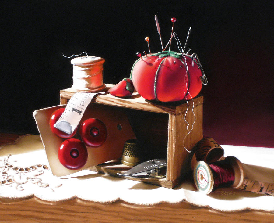 Sewing Painting - Sewing Box In Reds by Dianna Ponting