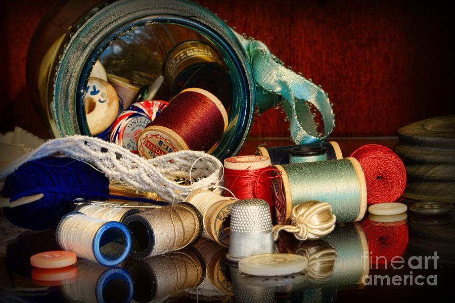 Paul Ward Photograph - Sewing - Grandmas Mason Jar by Paul Ward
