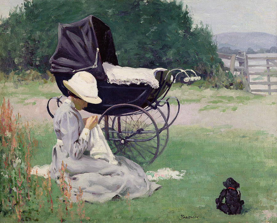 Nanny Painting - Sewing In The Sun, 1913 by Brake Baldwin