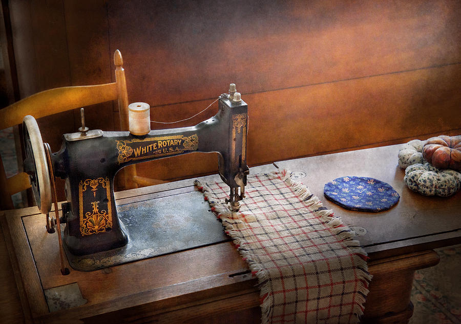 Sew Photograph - Sewing - Its Just Black And White  by Mike Savad