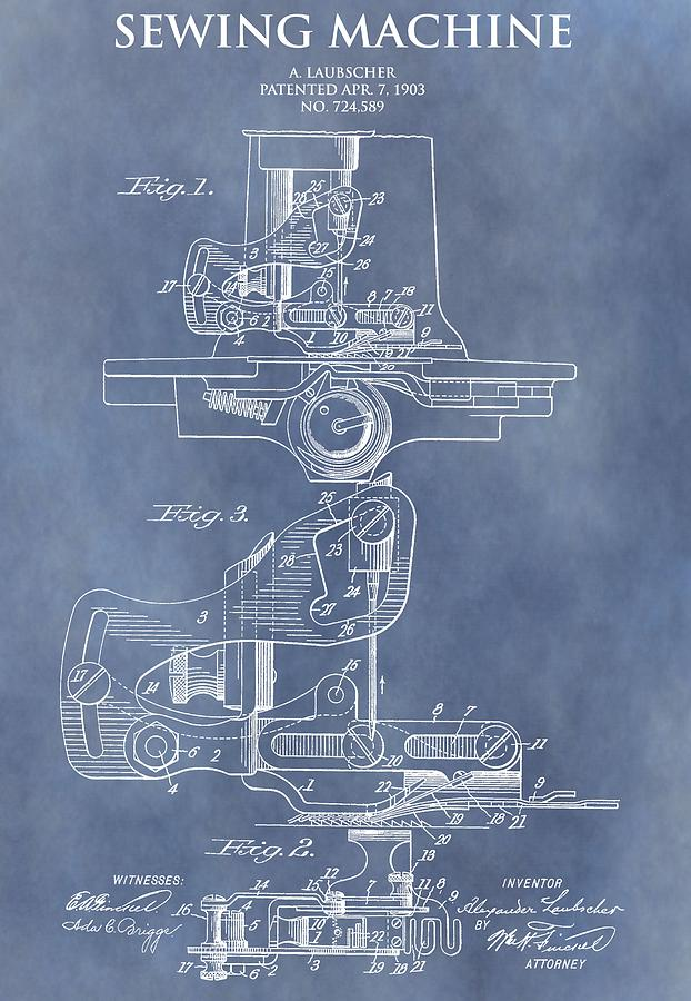 Sewing Machine Mixed Media - Sewing Machine Patent by Dan Sproul