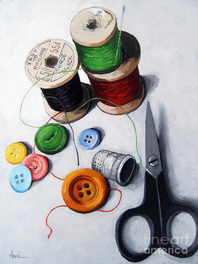 Sewing Painting - Sewing Memories by Linda Apple