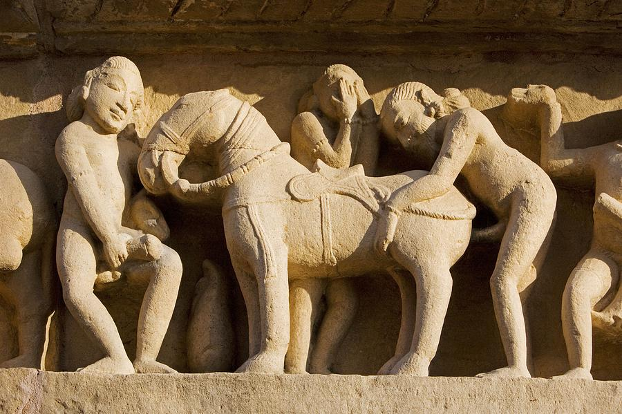 Sex with horse, sculpture on Lakshmana Temple. Khajuraho. Madhya Pradesh, India Photograph by José Fuste Raga