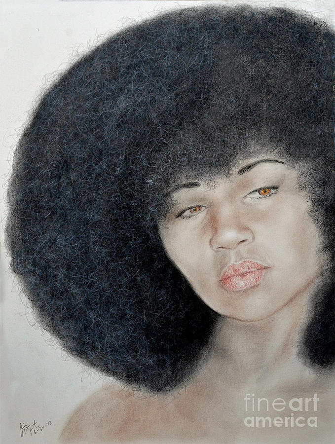 Aevin Dugas Drawing - Sexy Aevin Dugas Holder Of The Guinness Book Of World Records For The Largest Afro by Jim Fitzpatrick