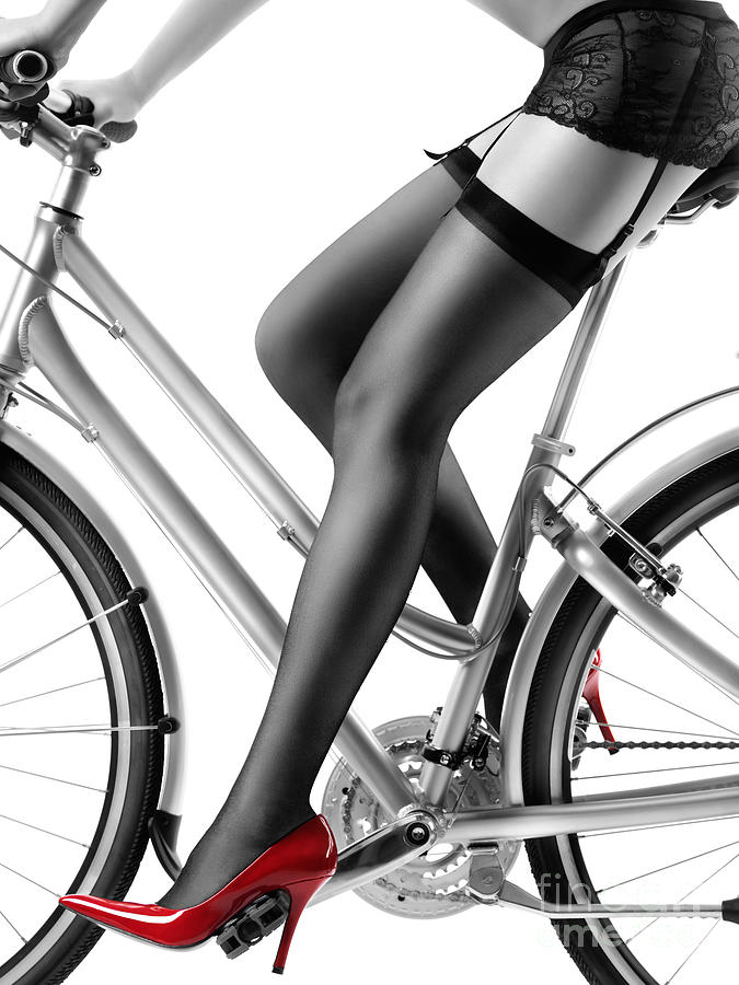 0becda407ee Bicycle Photograph - Sexy Woman In Red High Heels And Stockings Riding Bike  by Oleksiy Maksymenko