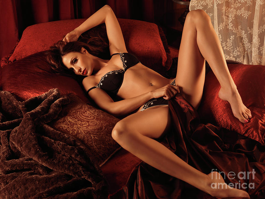 Glamour Photograph - Sexy Young Woman Lying In Bed by Oleksiy Maksymenko
