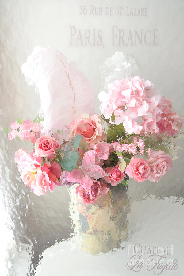 Shabby Chic Dreamy Pink Peach Impressionistic Romantic