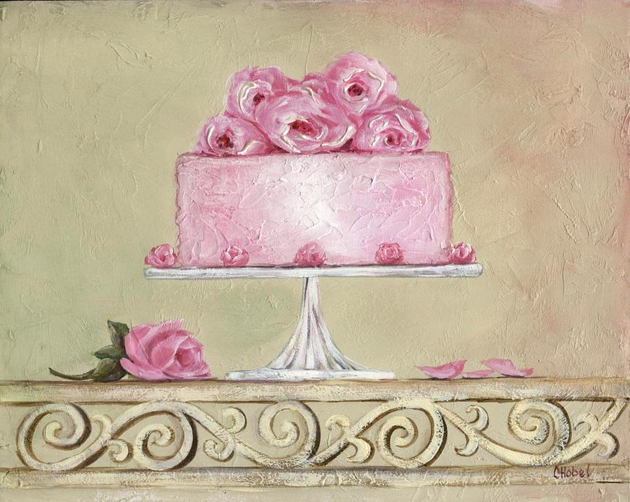 shabby chic pink roses cake painting painting by chris hobel. Black Bedroom Furniture Sets. Home Design Ideas