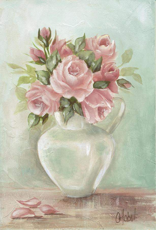 Pink Flowers Painting - Shabby Chic Pink Roses Painting On Aqua Background  by Chris Hobel