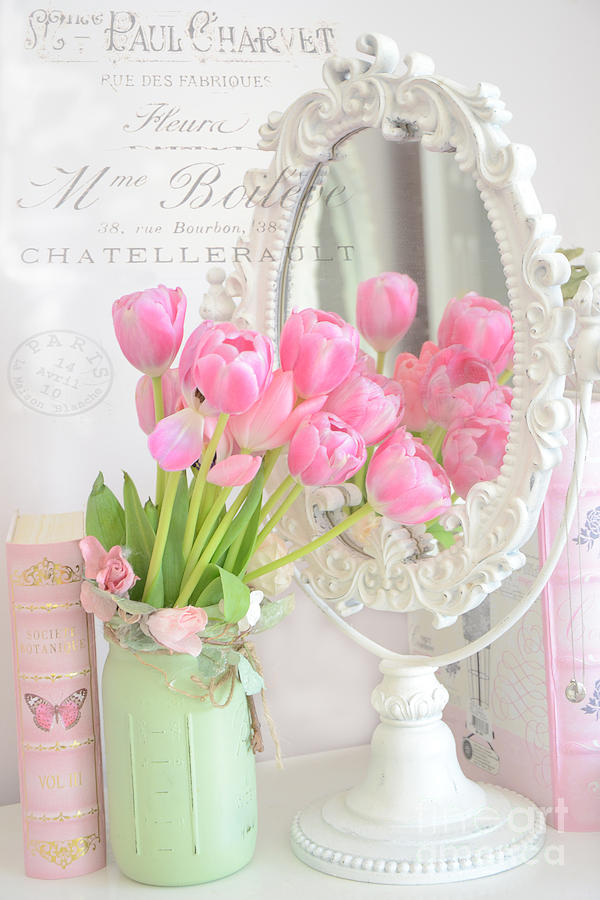 Shabby Chic Tulips Reflection In Mirror Dreamy Romantic