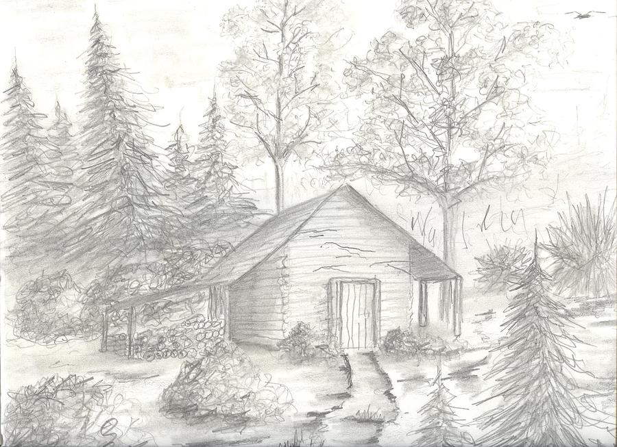 Shack In The Woods Drawing By Robert Stewart