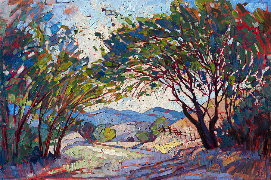Shaded Path Painting By Erin Hanson