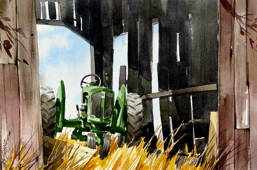 Tractor Painting - Shaded Shed by Art Scholz