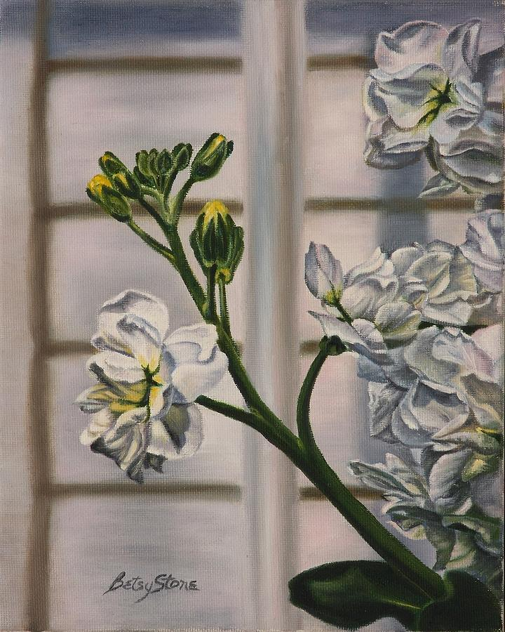 White Flowers Painting - Shades And Shadows by Alice Betsy Stone