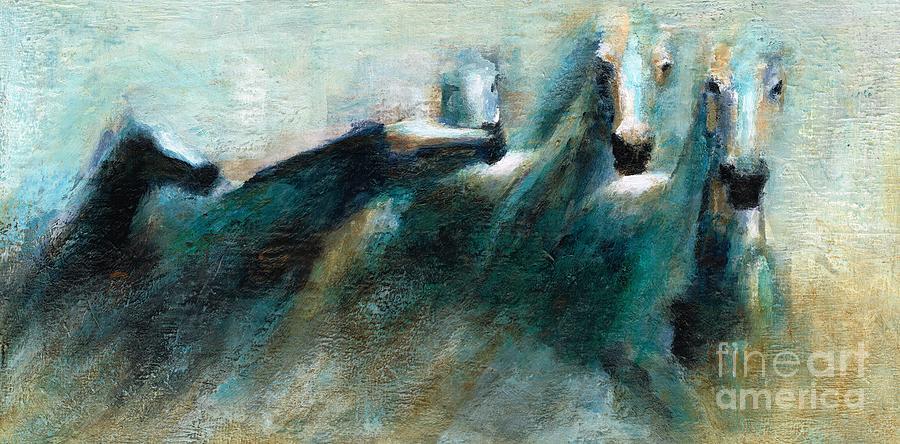 Horses Painting - Shades Of Blue by Frances Marino