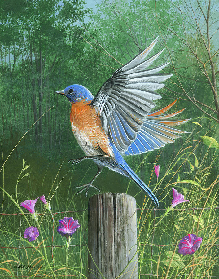 Blue Bird Painting - Shades Of Blue by Mike Brown