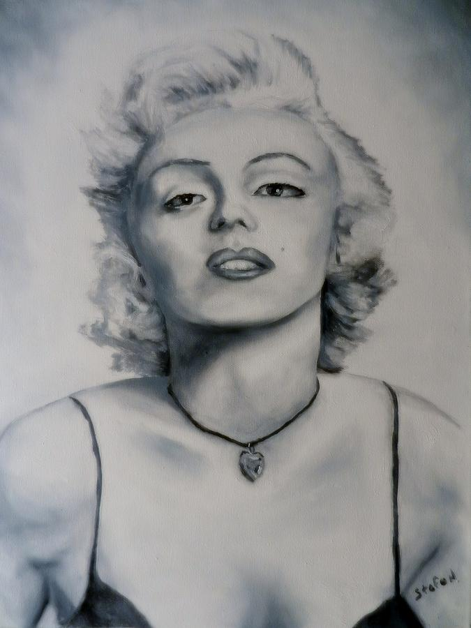 Marilyn Monroe Painting - Shades Of Gray Marilyn Monroe by Stefon Marc Brown