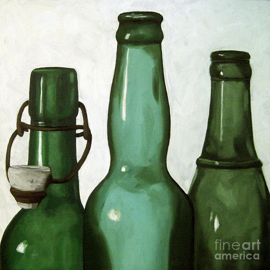 Realism Painting - Shades Of Green - Bottles by Linda Apple