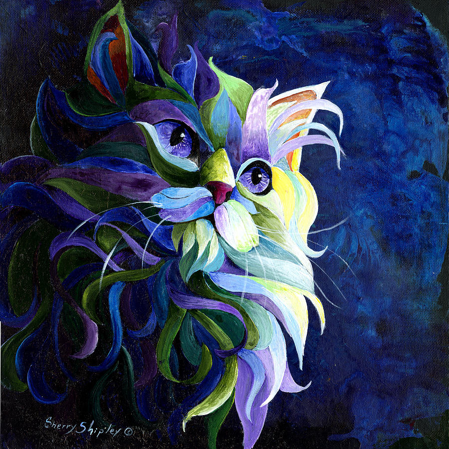 Cat Painting - Shadow Puss by Sherry Shipley